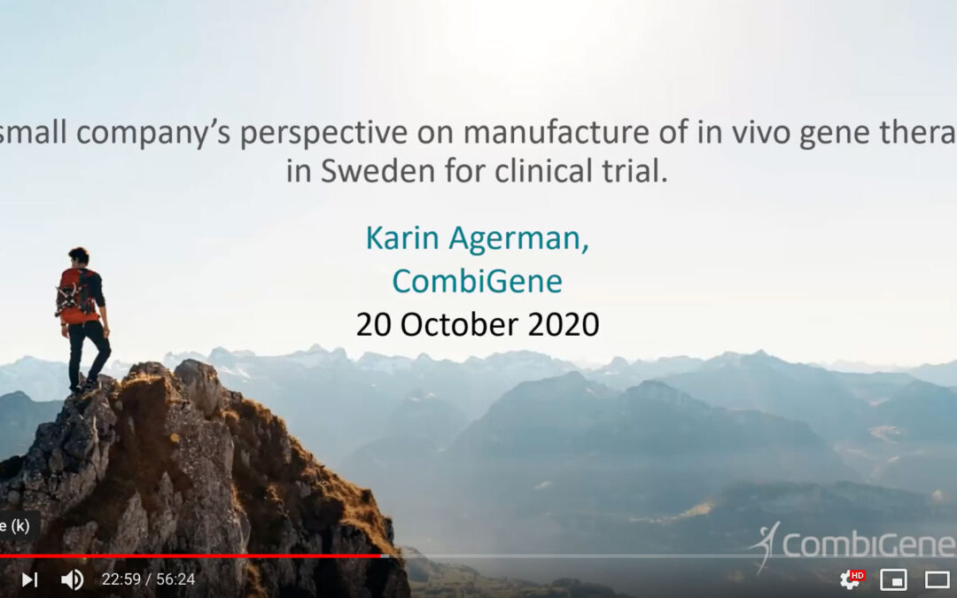 Den 20 oktober presenterade Karin Agerman, Chief Research & Development Officer på CombiGene på ATMP Swedens webinar Manufacturing of Gene Therapy Products in Sweden